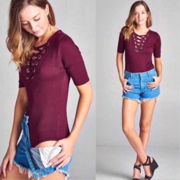 Tops - Burgundy 3/4 Sleeve Lace-Up Bodysuit